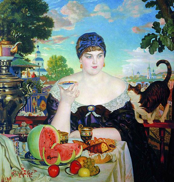 Астраханский художник Б.М.Кустодиев Купчиха за чаем, чай, русский чай